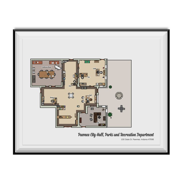 Pawnee Parks And Recreation Department Floor Plan 11 x 17