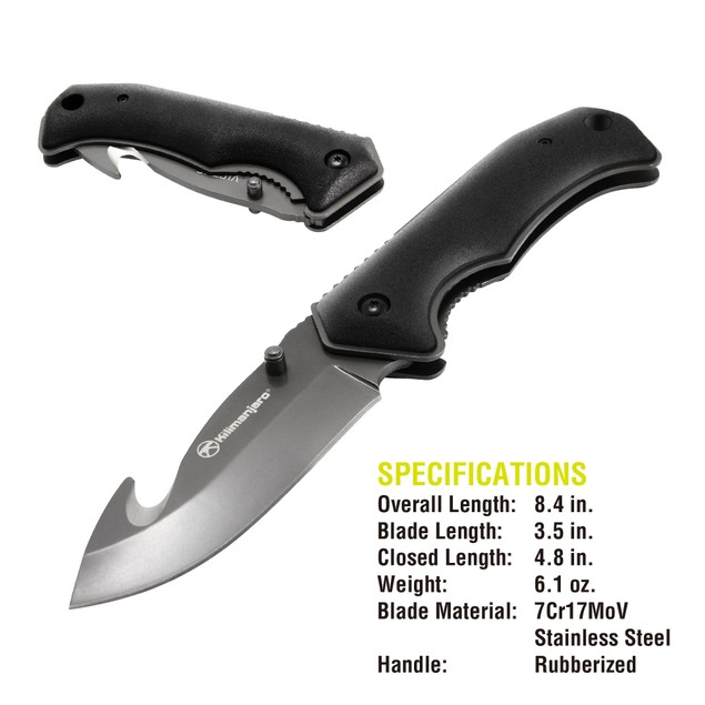 """Kilimanjaro Victus 8"""" Folding Stainless-Steel Knife with Gut Hook"""
