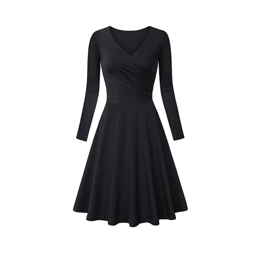 Haute Edition Women's V-Neck Long Sleeve Dress