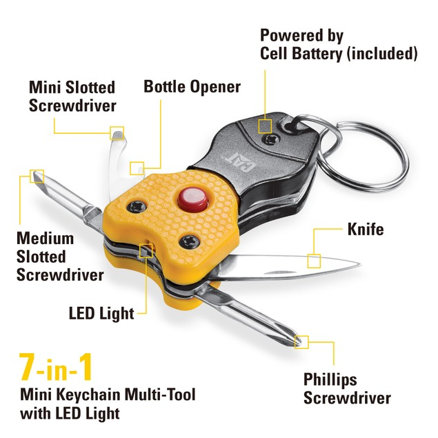 CAT 6-in-1 Multi-Tool Key Chain & 5-Inch Folding Knife Set