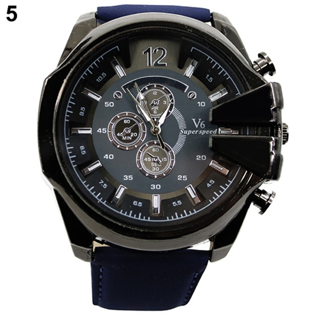 Men Faux Leather Band Stainless Steel Analog Quartz Sports Wrist Watch