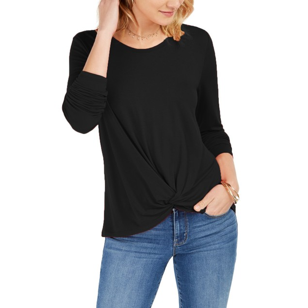 Style & Co Women's Twist-Front Top Black Size Small