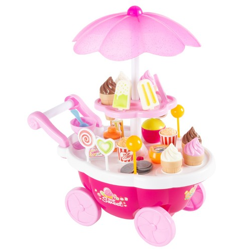 Kids Ice Cream Cart-Mini Pretend Play Food Stand with Candy