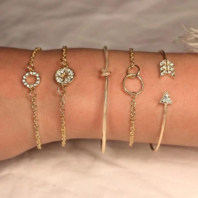 Gold Sparkle of Love Nub - 5 Piece Bracelets