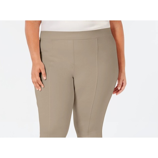 Style & Co Women's Plus Size Seamed Ponte Leggings Brown Size Small Petite