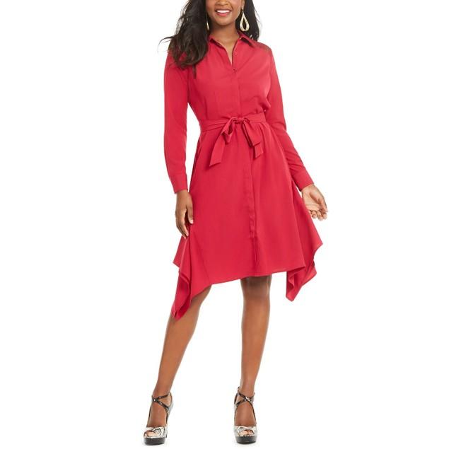 Thalia Sodi Women's Handerkerchief-Hem Shirtdress Pink Size Medium