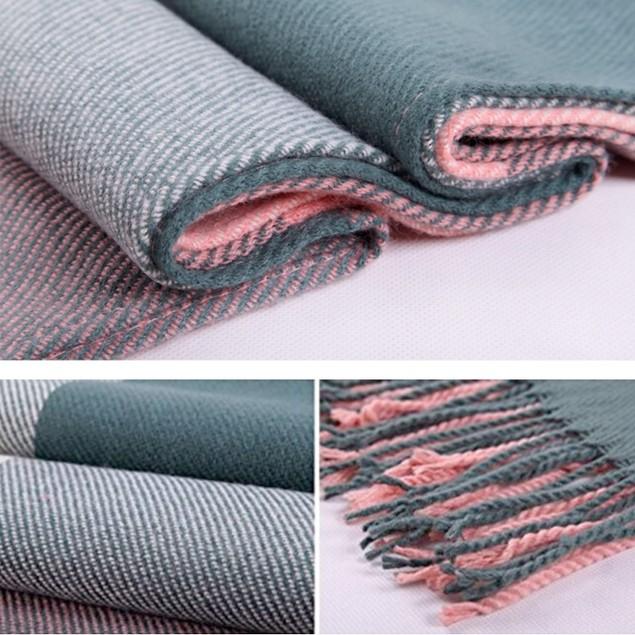 Cashmere Plaid Scarf Ladies Pure Color Shawl Cloak