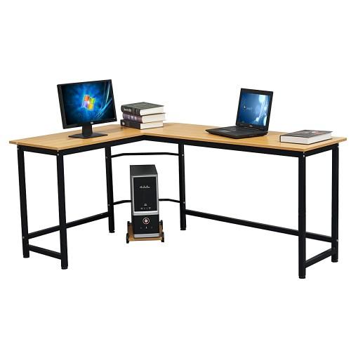 Wood Color L-Shaped Desktop Computer Desk Beech