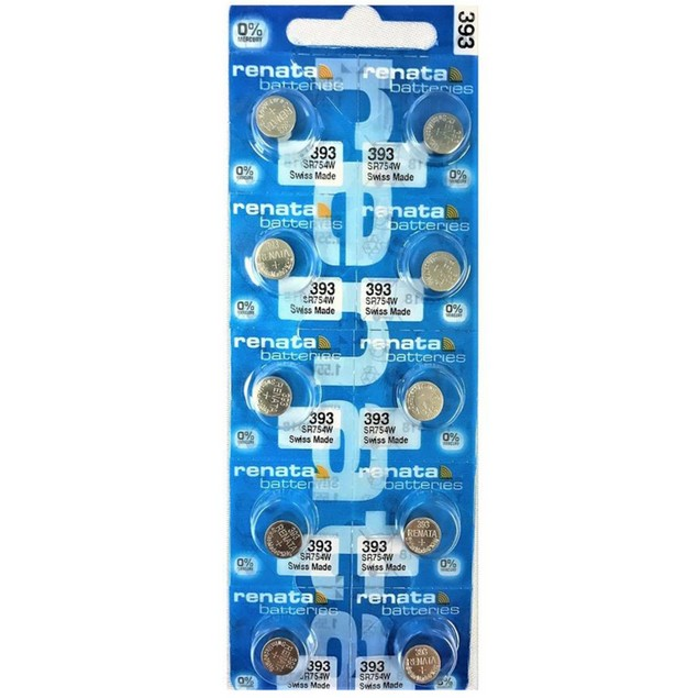 Renata 393 (SR754W) Silver Oxide Watch Batteries (10 Pack)