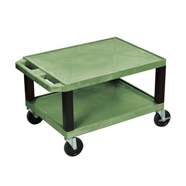 """Luxor 16"""" Two Shelves AV Cart with Electric - Black Legs, Green"""