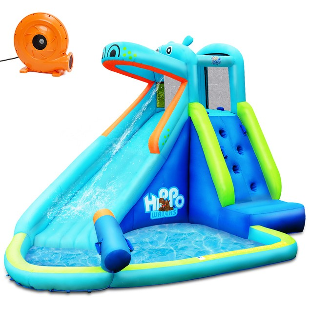 Costway Inflatable Kids Hippo Bounce House Slide Climbing Wall Splash Pool