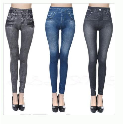 Real Pocket Corset Imitation Denim Leggings