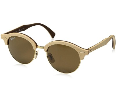 Ray-Ban Wood Polarized Round Gold Sunglasses - RB4246M-117957-51 Was: $348 Now: $169.99.
