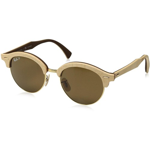 Ray-Ban Wood Polarized Round Gold Sunglasses - RB4246M-117957-51