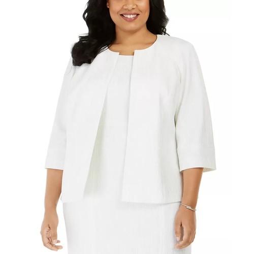 Kasper Women's Plus Ribbed Metallic Flyaway Jacket White Size 18W