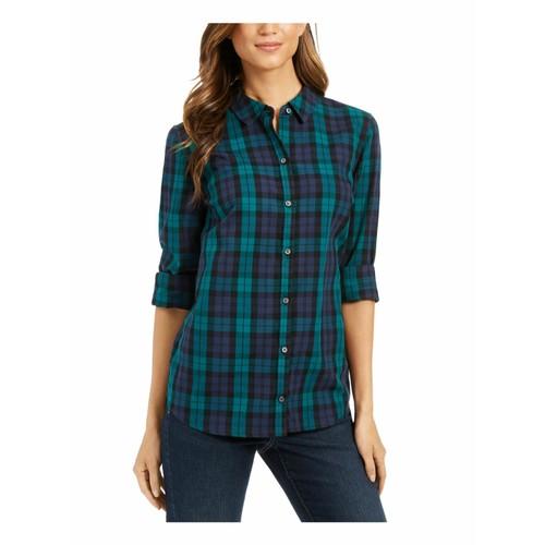 Charter Club Women's Cotton Plaid Shirt Black Size Medium