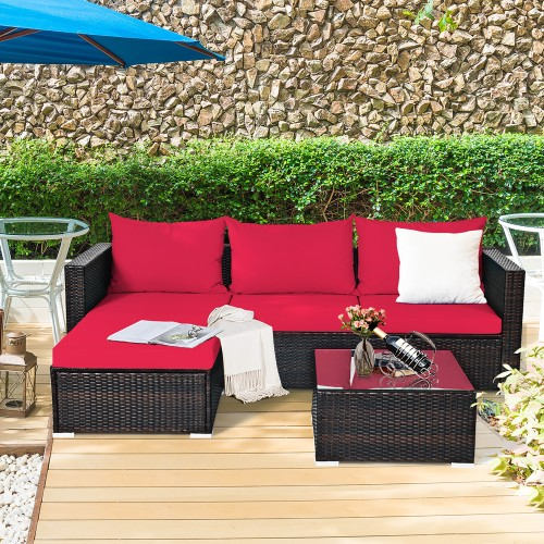 5PCS Patio Rattan Furniture Set Sectional Conversation Sofa w/ Coffee Table