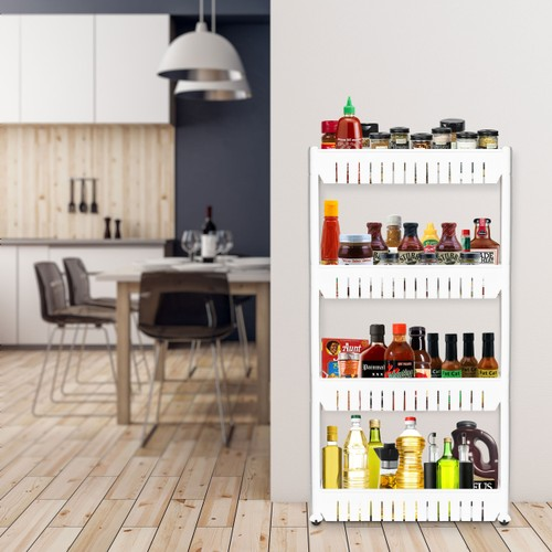 Rolling Storage Cart Pull Out 4 Tier Pantry Cabinet Slide Out Shelf