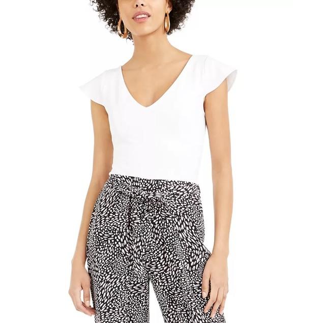 Bar III Women's V Neck Flutter Cap Sleeve Top White Size Large