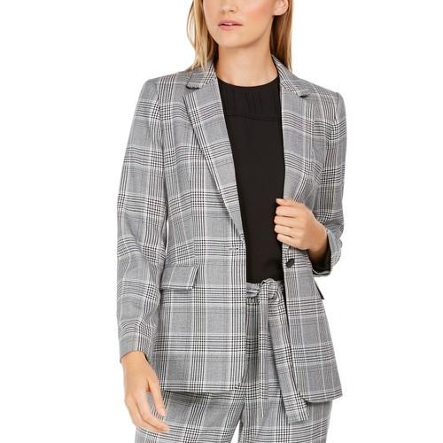 Calvin Klein Women's Petite Plaid One-Button Blazer Gray Size 4 P