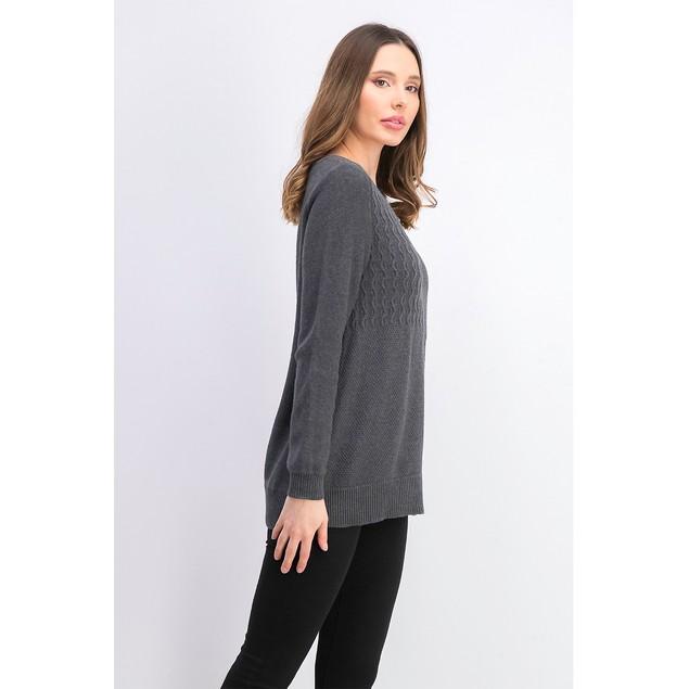 Karen Scott Women's Cotton Mixed-Stitch Sweater Charcoal Size Large