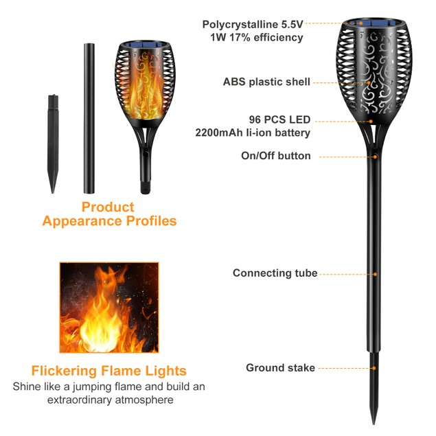 (4 or 8 Pack) 96 LEDs Waterproof Flickering Flame Solar Torch Lights