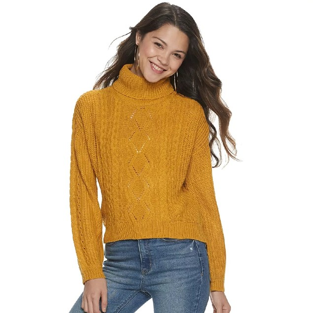 Almost Famous Juniors' Lace-Up Sweater Yellow Size Large