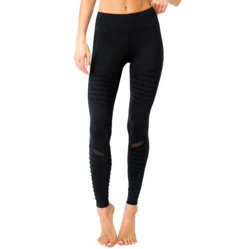Athletique Low-Waisted Ribbed Leggings With Pocket and Panels -Black