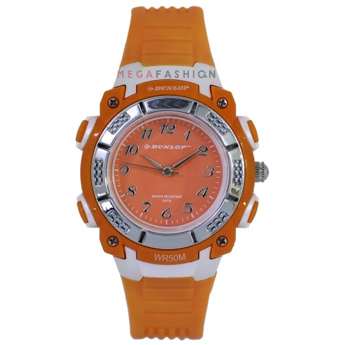 Dunlop Digital Watch  Analog WR50M Orange Rubber Strap DUN243L08