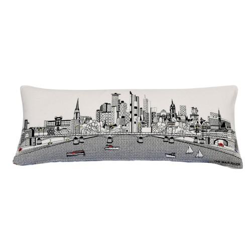 Spura Home Frankfurt Printed Skyline Embroidered Wool Cushion Day/Night