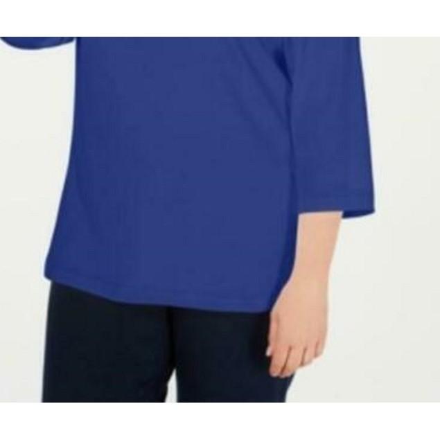Karen Scott Women's  Plus Size Cotton Split-Neck Top Dark Blue Size 1X