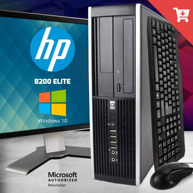 "HP 8200 Desktop Intel i5 4GB 250GB HDD Windows 10 Home 17"" Monitor"