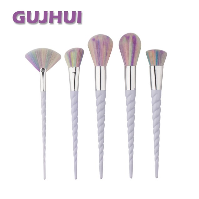 5-Piece Rainbow Unicorn Cosmetic Brush Set with White Handles