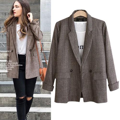 Female Retro Simple Loose All-Match Plaid Suit