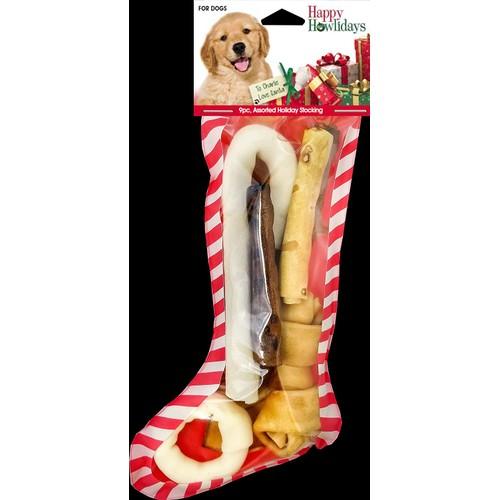 Pet Factory Happy Howlidays Assorted Chews Dog Christmas Stocking 9pc Small