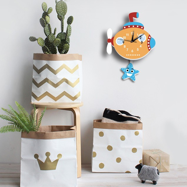 Cartoon Submarine Pattern Foam Clock DIY Silent Clock Bedroom