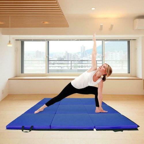 Three Folding Panel Gymnastics Mat Gym Fitness Exercise Yoga Mat Blue