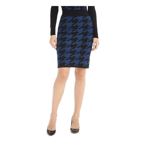 Anne Klein Women's Houndstooth Knit Skirt Black Size Extra Small