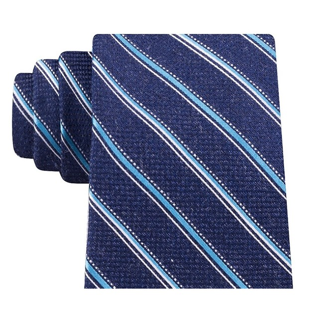 Michael Kors Men's Blue Stripes Neck Tie Navy Size Regular