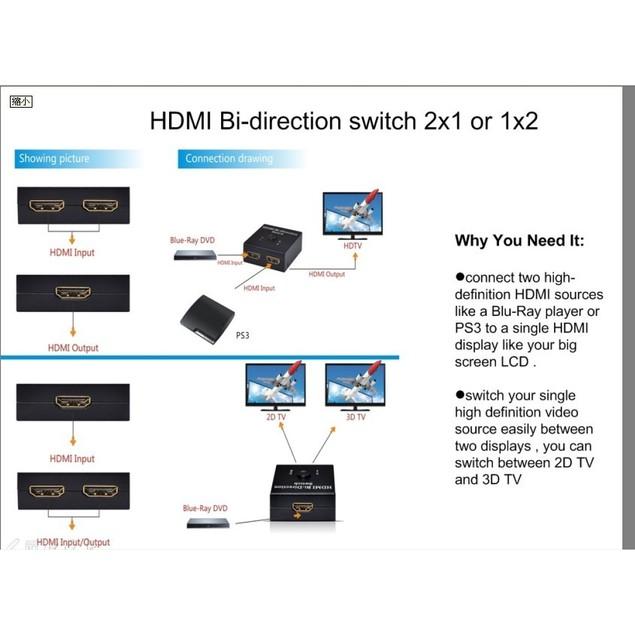 3D HDMI Bi-direction Switch -Switcher 2x1 or 1x2 A-B AB A/B