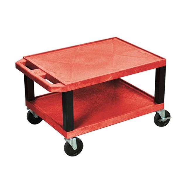 """Luxor 16"""" Two Shelves AV Cart with Electric - Black Legs, Red"""