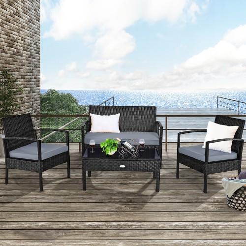 Costway 4PCS Patio Rattan Furniture Set Garden Deck