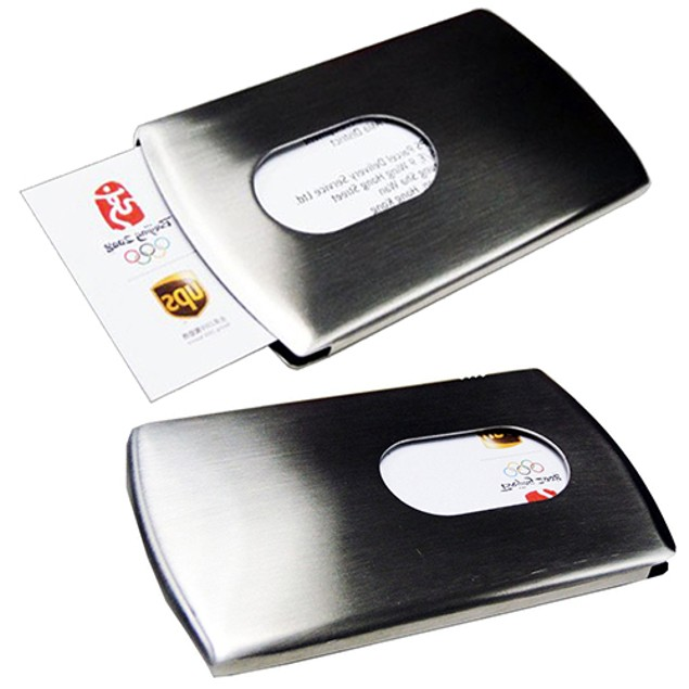 Hand push Stainless Steel Case Business ID Credit Card Holder