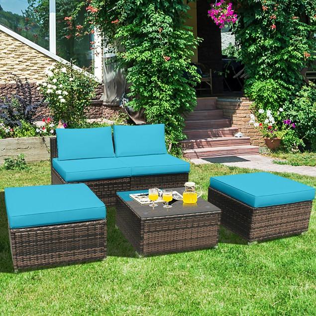 Costway 5PCS Patio Rattan Wicker Furniture Set Armless Sofa Cushioned Red\T
