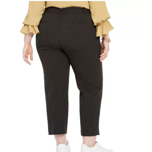 Bar III Women's Trendy Plus Striped Tie Waist Pants Charcoal Size 20W