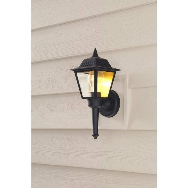 Hampton Bay Exterior 1-Light Clear Glass Outdoor Wall Lantern Sconce, Black