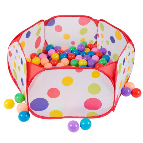 Kids Pop-up Six-sided Ball Pit Tent with 200 Colorful Plastic Balls