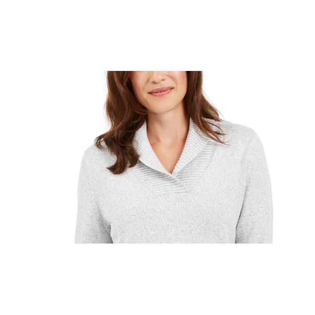 Karen Scott Women's Cotton Marled Shawl-Collar Sweater Green Size Large