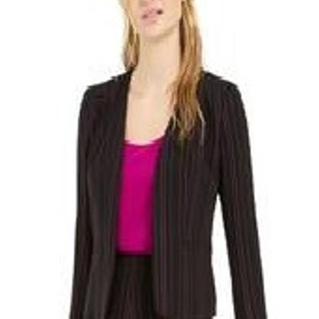 Bar III Women's Striped Open Front Jacket Black Size X-Small