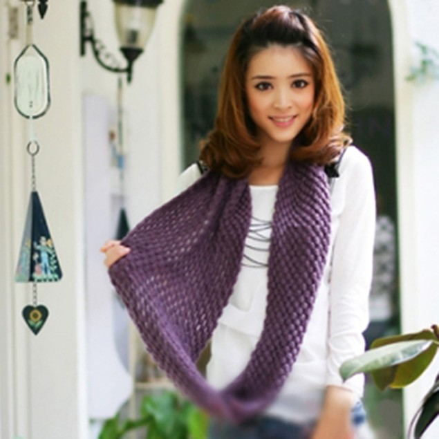 Womens Mens 2 Circle Winter Warm Knitted Neck Scarf